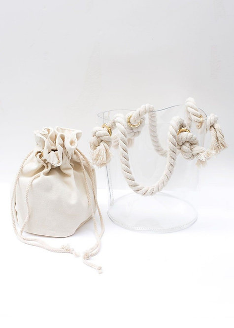 Rope Handle Clear Vinyl Bucket Bag