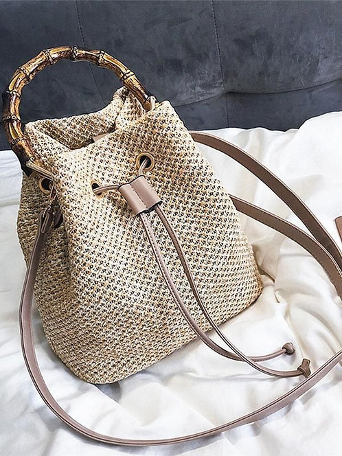 Bucket String Straw Bag with Bamboo Handle