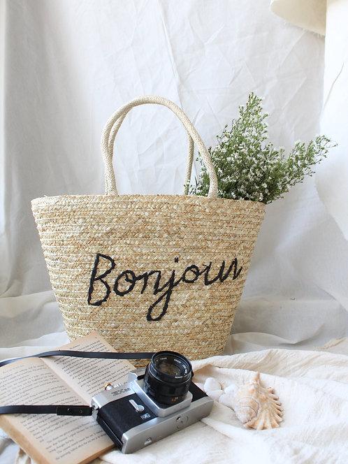Bonjour Hand Made Straw Tote Bag