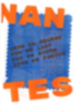 Printed Risograph for the city Nantes Petit Beurre graphic elments orange and blue