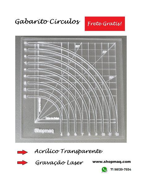 Régua Gabarito Circulo Centimetro Patchwork 2 a20cm
