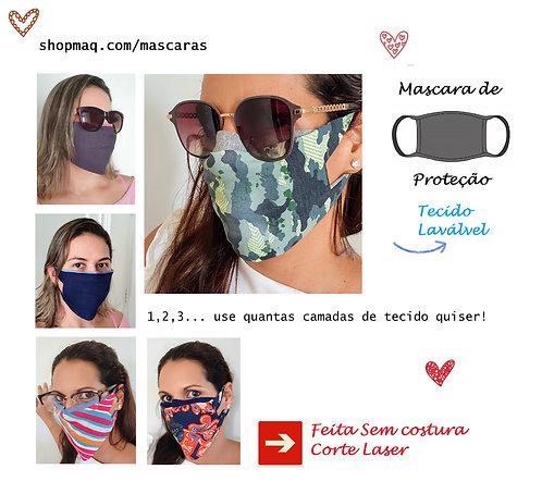 12 Mascaras de Proteção 1 camada tecido Lavavel sem costura