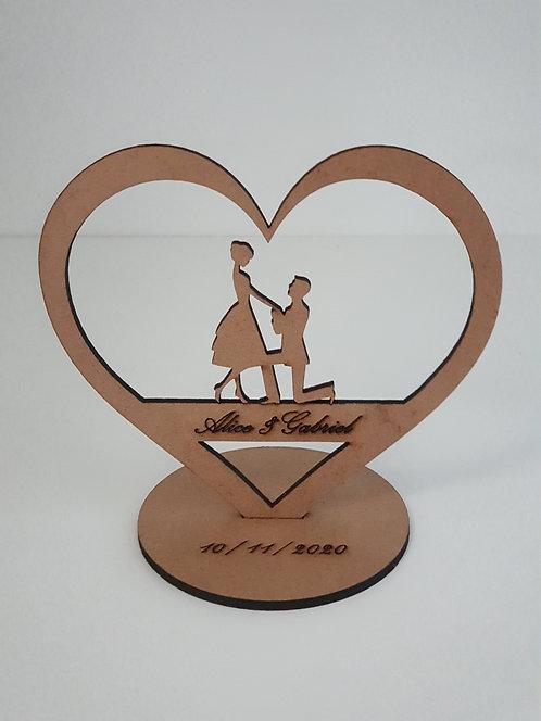 Centro de Mesa Coração Casamento Mdf Cru 13cm