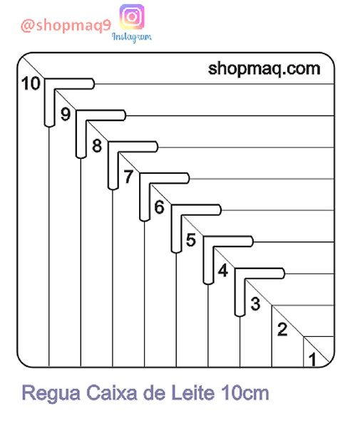 Regua Gabarito Caixa De Leite Costura 10cm