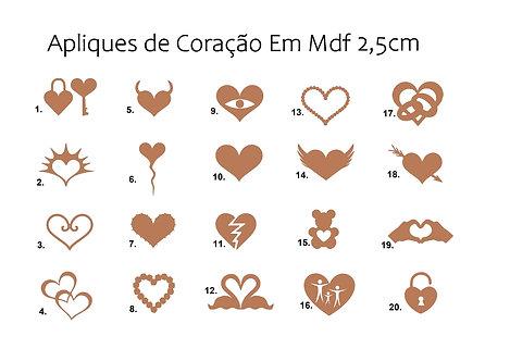 20 Apliques de Coração MDF Escolha o Modelo 2,5cm FRETE GRATIS