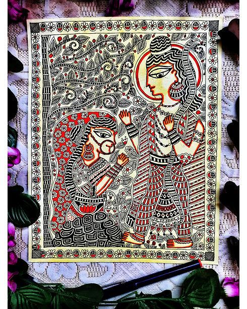Ram and Ahalya in Madhubani