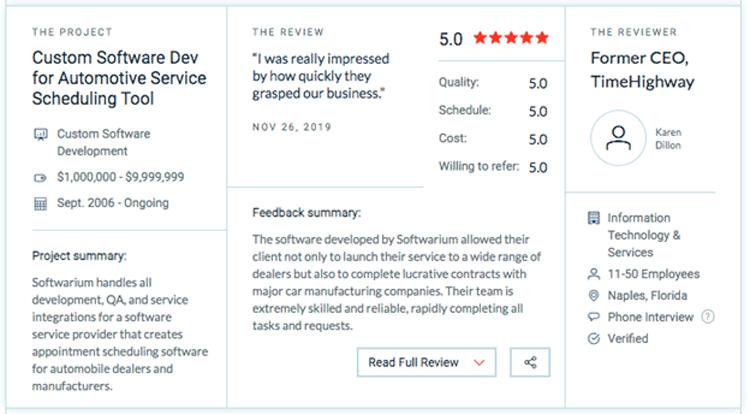 custom software development review automotive