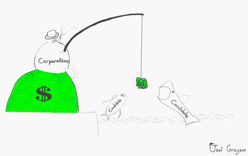 Political Cartoon - 2019  Corporation fishing for politicians.
