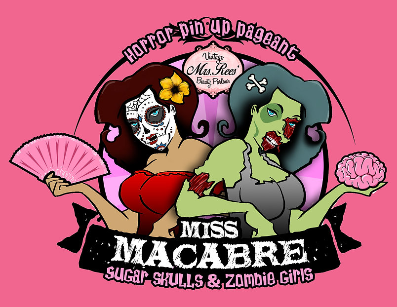 horror expo pinup logo with website back