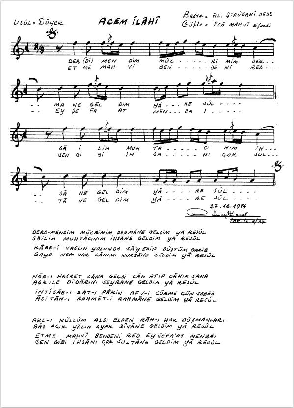 Nota Arşivi - Ney Notaları - Derd-mendim mücrimim dermâne geldim yâ Resûl.PNG