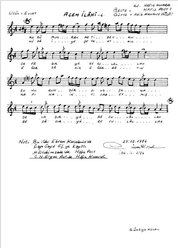 Nota Arşivi - Ney Notaları - Kudumun Rahmet-i Zevk-u Safadır ya Resulallah.PNG