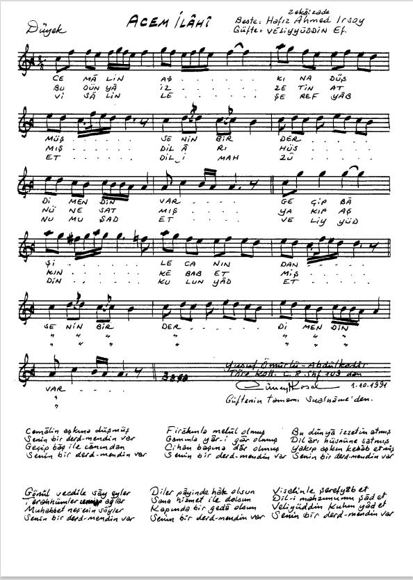 Nota Arşivi - Ney Notaları - Cemâlin aşkına düşmüş.PNG
