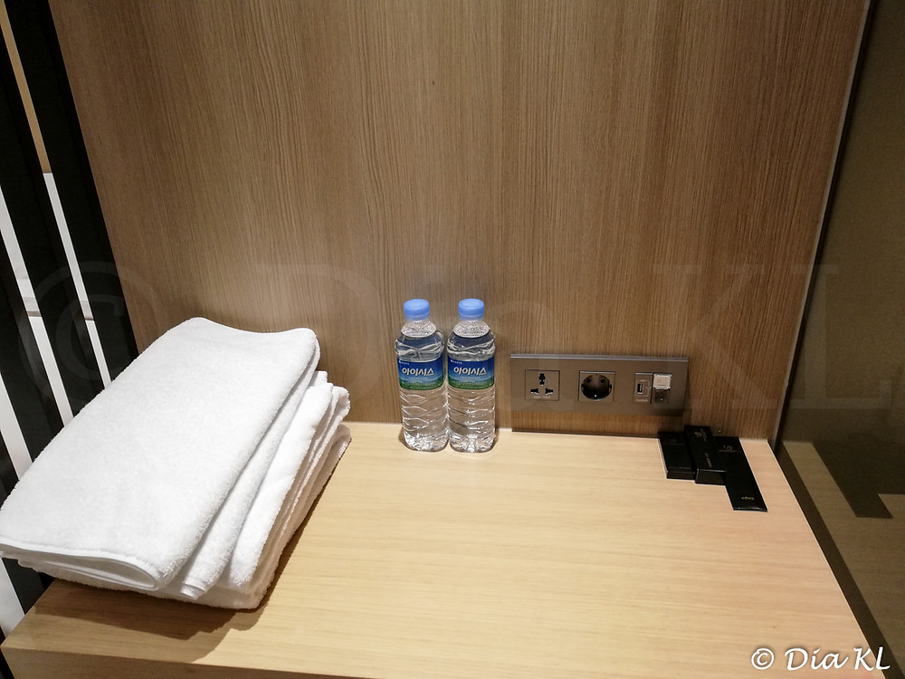 Desk in standard room, Terminal 2 Transit Hotel, Incheon international airport, South Korea. January 2021. Covid19 pandemic second wave.