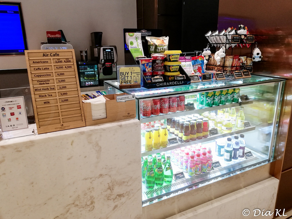 Snacks & soft drinks available as well, reception cafe in Terminal 2 Transit Hotel, Incheon international airport, South Korea. January 2021. Covid19 pandemic second wave.