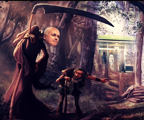 Iain Duncan Smith as the grim reaper