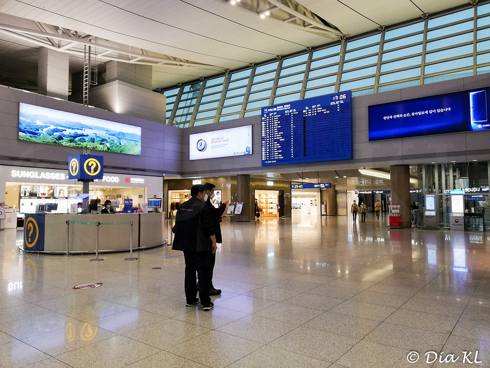 Arriving in Terminal 2, Incheon international airport, South Korea. January 2021. Covid19 pandemic second wave.