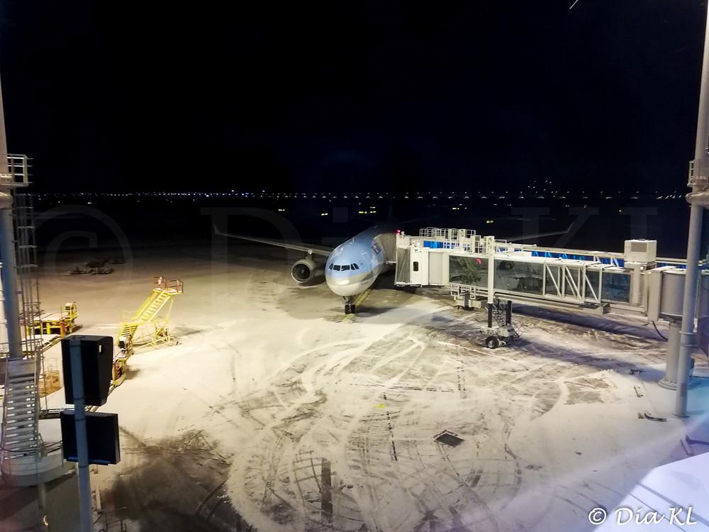 My flights aircraft before the sunrise. Incheon international airport, South Korea. January 2021.