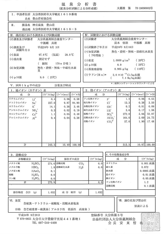 Onsen chart paper with information about the quality, minerals and temperature
