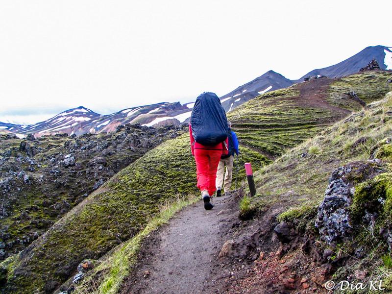 Iceland 2006, Laugavegur trek Day1, Landmannalaugar to Hrafntinnusker (12km), going up the trail