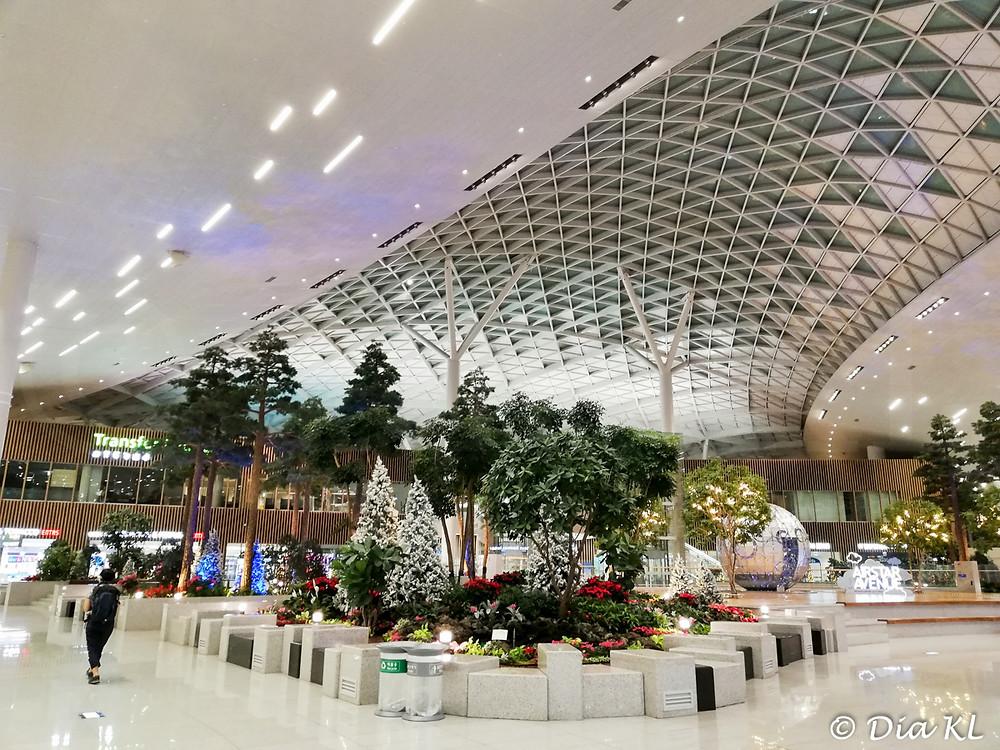 Beautiful Terminal 2, Incheon international airport, South Korea. January 2021. Covid 19 pandemic second wave.