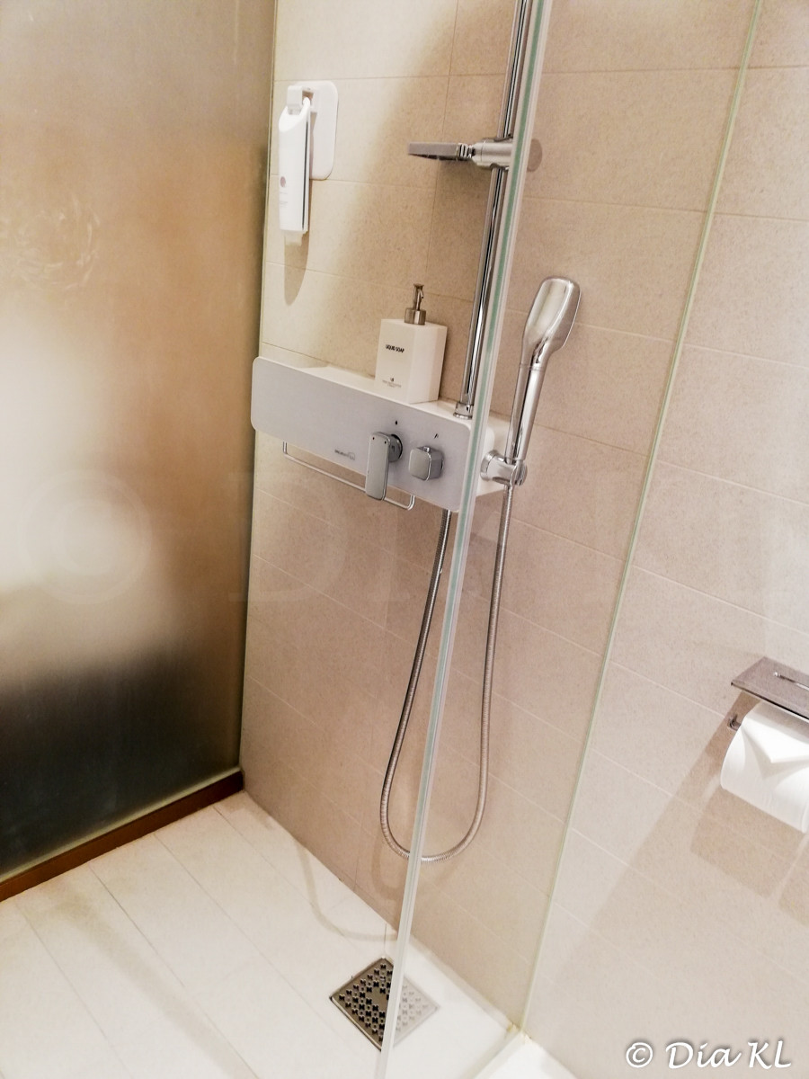Shower in standard room, Terminal 2 Transit Hotel, Incheon international airport, South Korea. January 2021. Covid19 pandemic second wave.