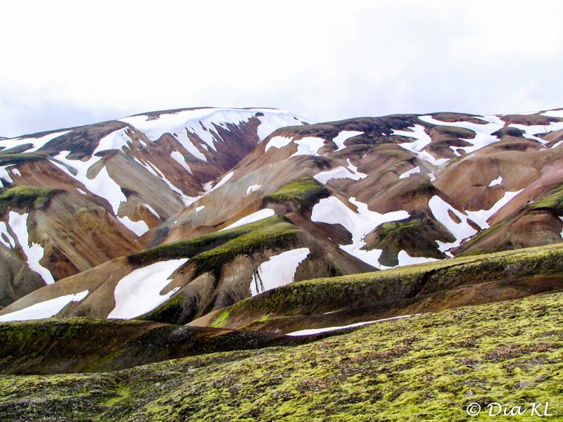 Iceland 2006, Laugavegur trek Day1, Landmannalaugar to Hrafntinnusker (12km), rhyolite mountains