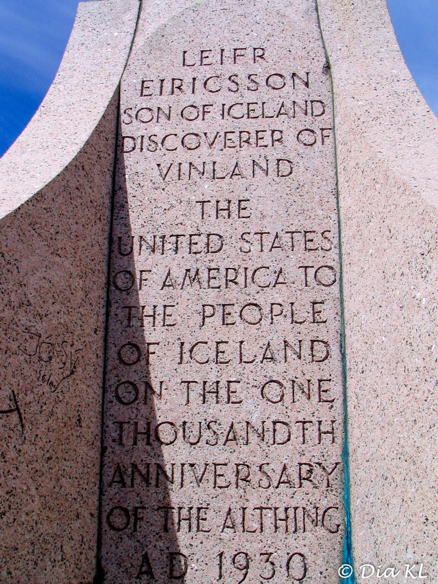 Leif Eriksson statue inscription, Reykjavik, Iceland 2006