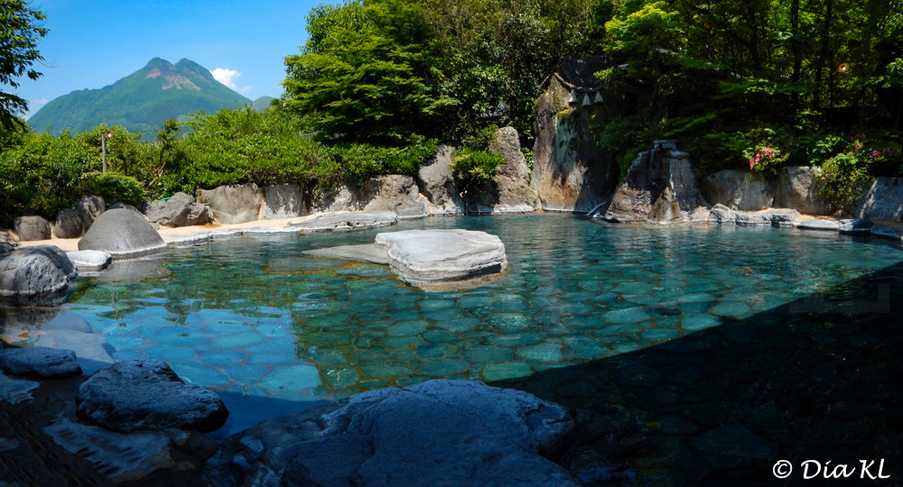 Outdoor onsen with a mountain view in Yufuin, Oita prefecture, Kyushu, Japan