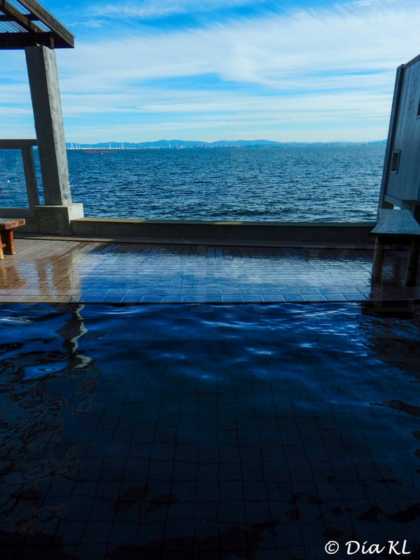 Public outdoor onsen in front of the sea, Hiji, Oita prefecture, Kyushu, Japan