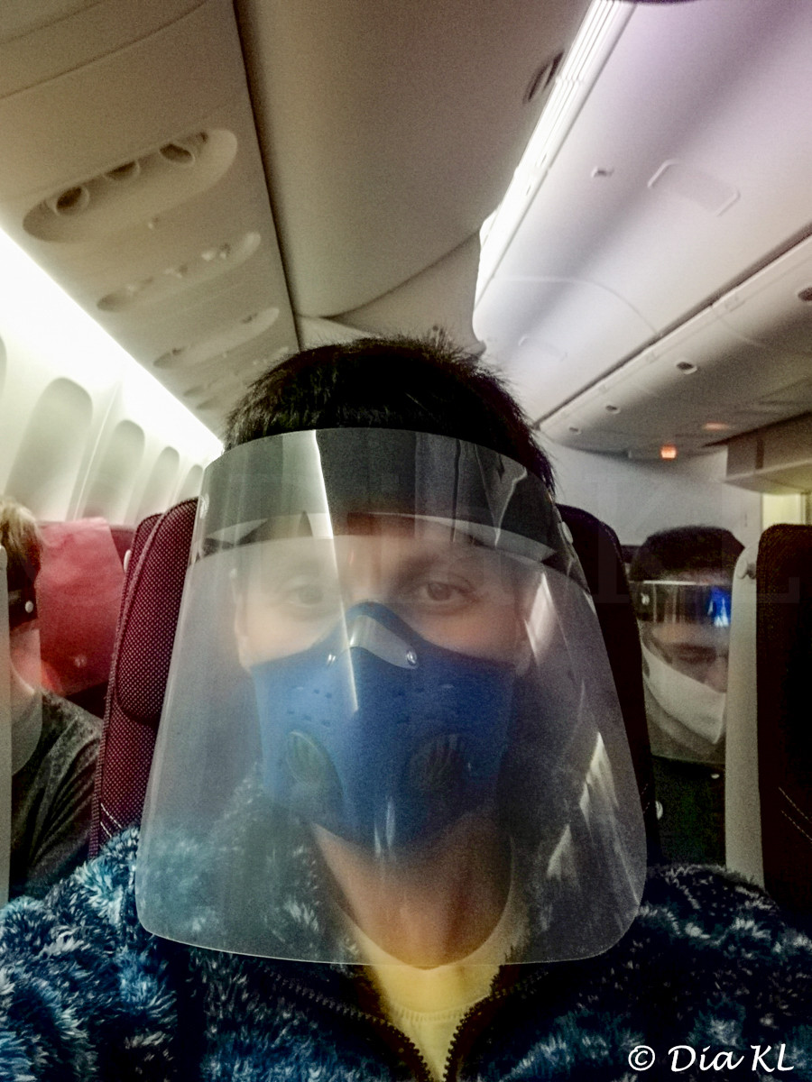 Qatar Airways flight from Narita airport Japan to Doha Hamad airport Qatar during the Covid19 pandemic. July 2020.