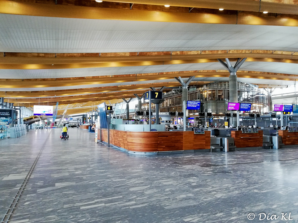 Oslo airport, Norway. Almost empty. July 2020. Covid19 pandemic first wave.