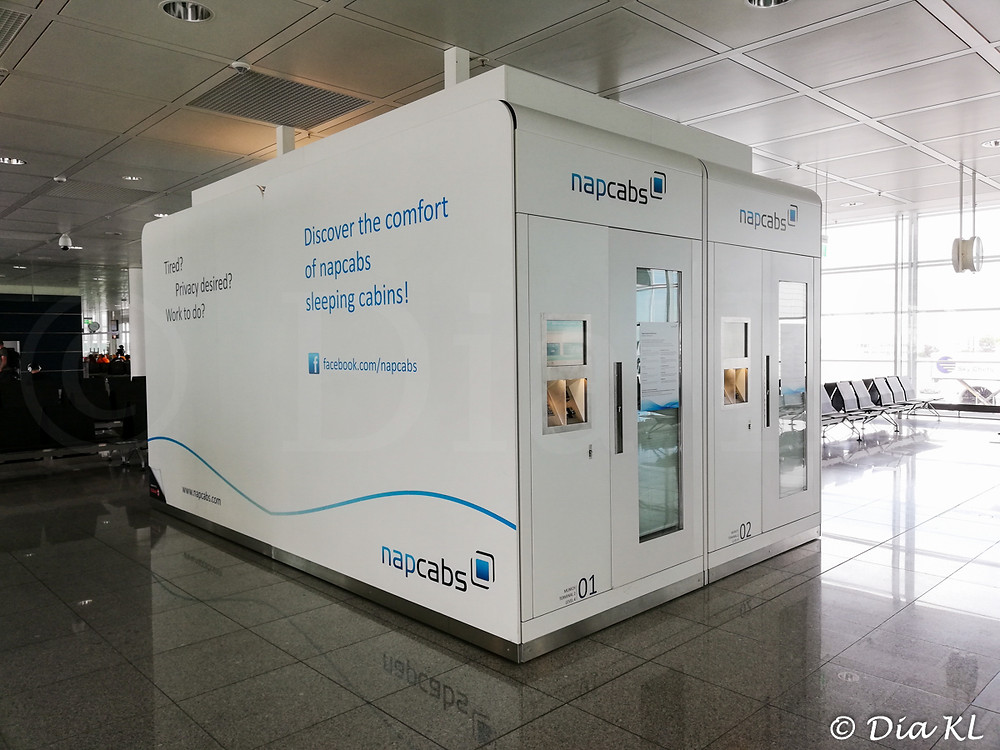 Napcabs in Munich airport. July 2020. Covid19 pandemic first wave.