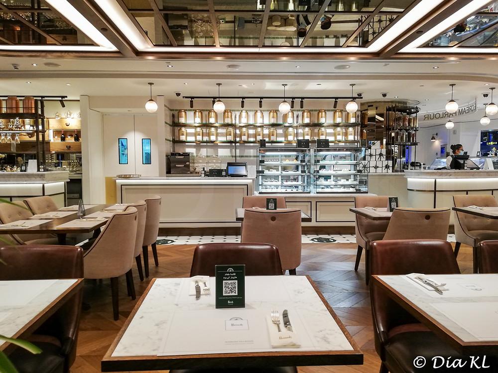 Harrods Tea Room, Hamad airport, Doha Qatar. January 2021. Covid19 pandemic second wave.