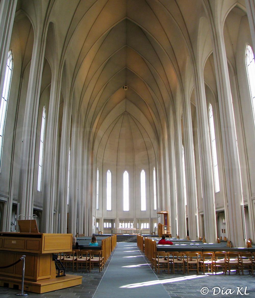 Hallgrimskirkja church interior, Reykjavik, Iceland 2006