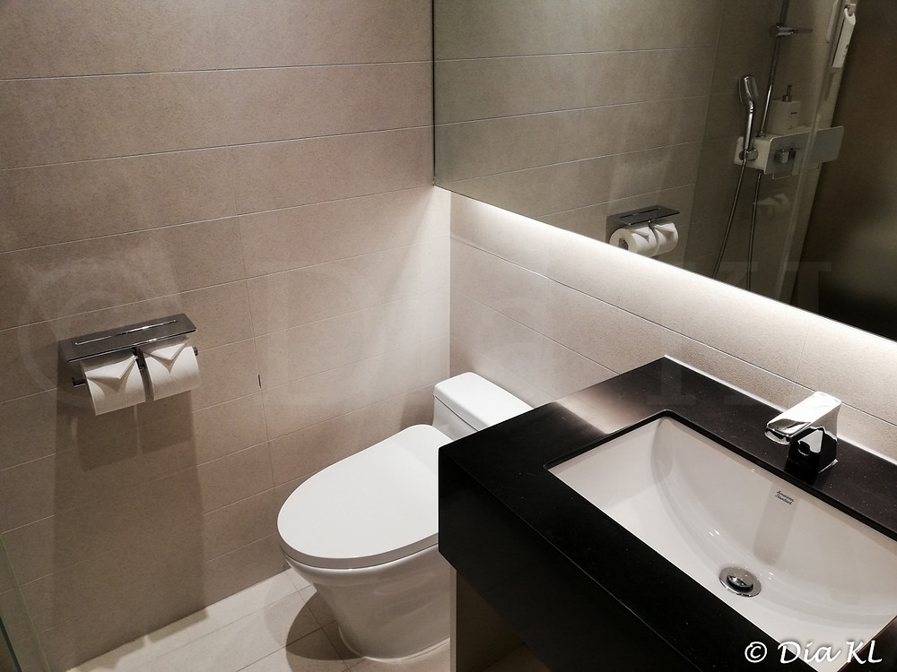 Toilet in standard room, Terminal 2 Transit Hotel, Incheon international airport, South Korea. January 2021. Covid 19 pandemic second wave.