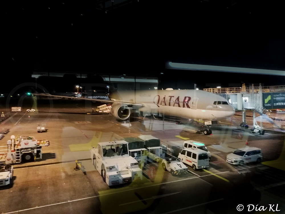 Boeing 777-300ER from Tokyo Narita Airport Japan to Doha Hamad Airport in July 2020 during the Covid19 pandemic.
