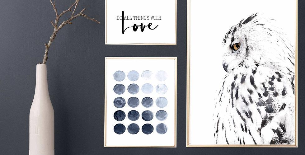 White Owl Scandinavian Print