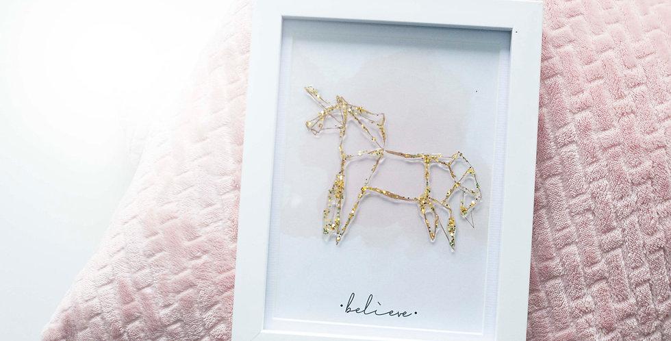 Unicorn Frame with Gold Glitter