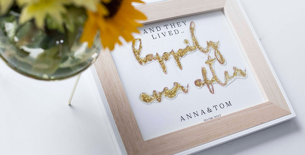 Personalised Wedding Gift With Gold Glitter
