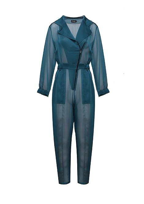 Blue Organza Pilot Jumpsuit