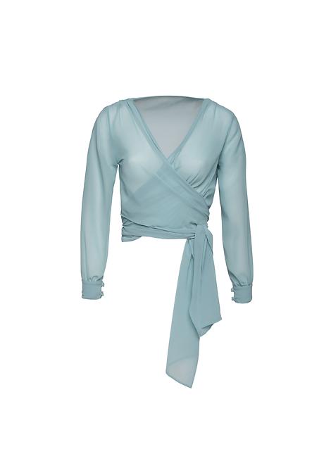 Chiffon Blue Wrap Jacket