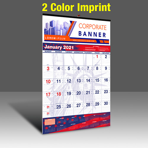 WAPatriotic Wall Calendar - 2 Imprint Color