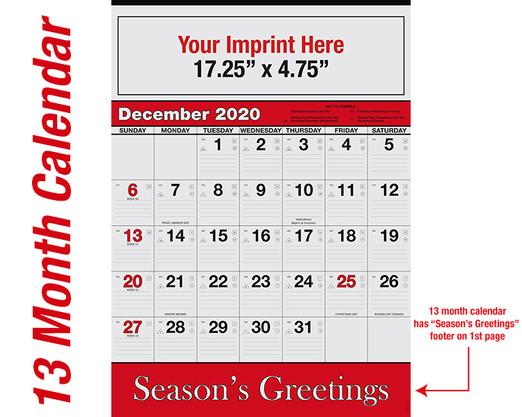 WA102 Black+185 Red - 13 month calendar