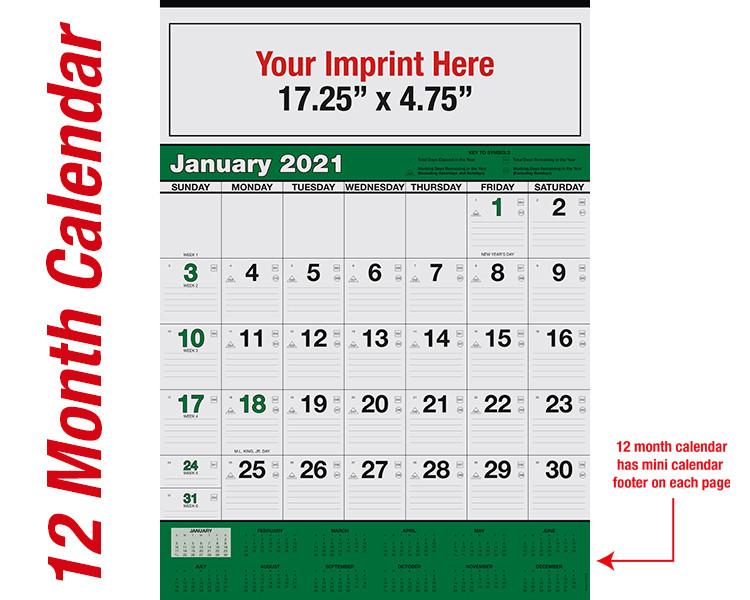 WA102 Black+348Green - 12 month calendar