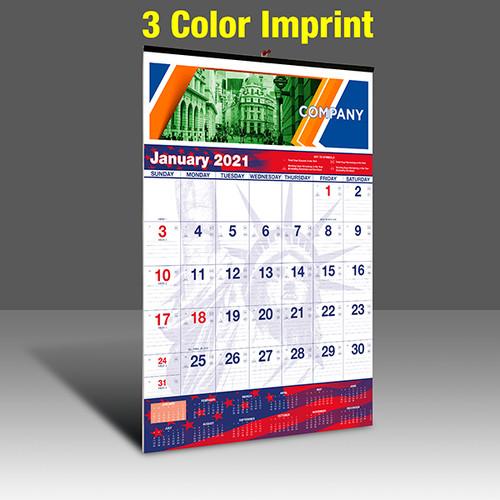 WAPatriotic Wall Calendar - 3 Imprint Color