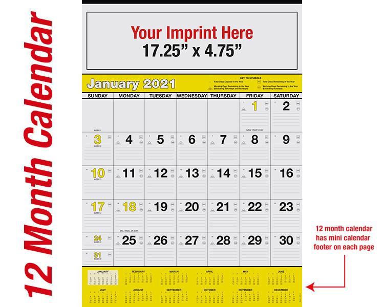 WA102 Black+Yellow Base - 12 month calendar