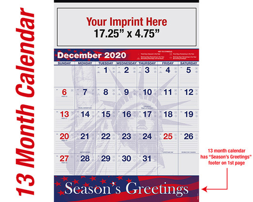 WAPatriotic 13 month calendar