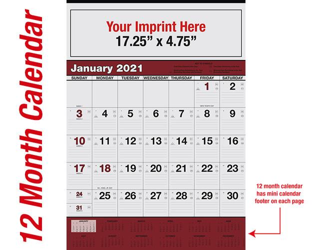 WA102 Black+Burgundy Base - 12 month calendar