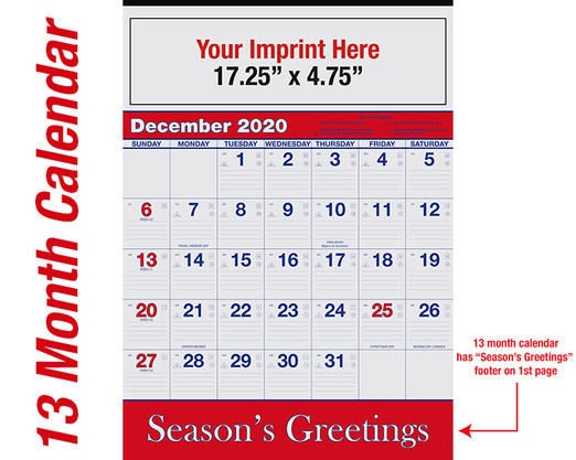 WA102 Reflex Blue & PMS 185 Red - 13 month calendar