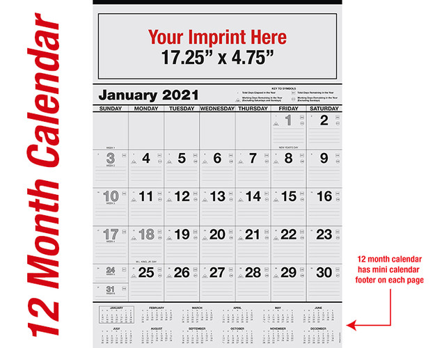 WA101 Black Base 12 mo. calendar